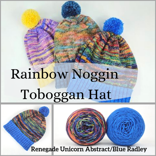 Rainbow Noggin Toboggan Yarn Pack, pattern not included, dyed to order