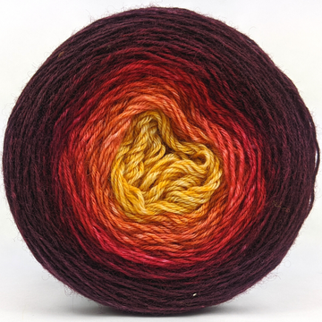 Knitcircus Yarns: Leaf Pile Leap 100g Panoramic Gradient, Breathtaking BFL, ready to ship yarn