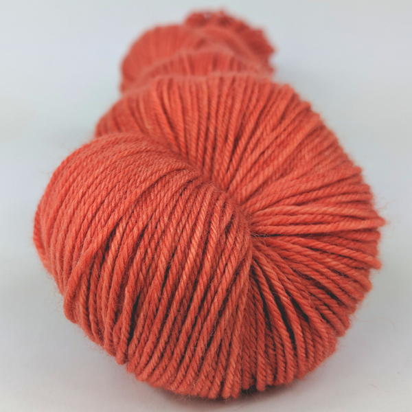 Knitcircus Yarns: Rhymes With Orange 100g Kettle-Dyed Semi-Solid skein, Greatest of Ease, ready to ship yarn
