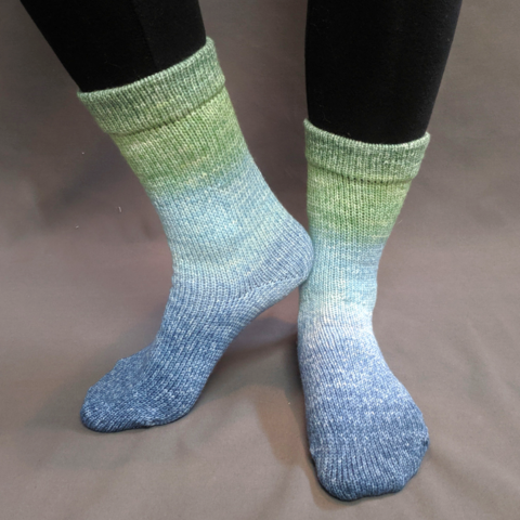 Beach Glass Panoramic Gradient Matching Socks Set (medium), Greatest of Ease, ready to ship