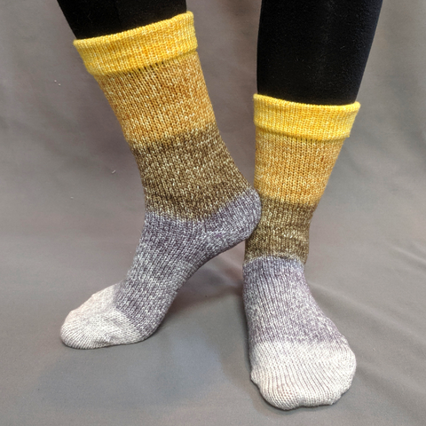 Brass and Steam Panoramic Gradient Matching Socks Set (medium), Greatest of Ease, ready to ship