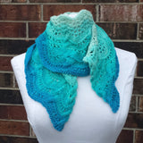 Cable and Fan Shawl Kit in Turquoise Pool, dyed to order