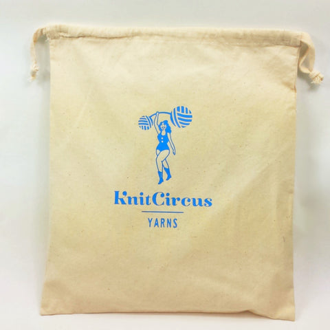 Knitcircus Logo Canvas Project Bag, Large, ready to ship