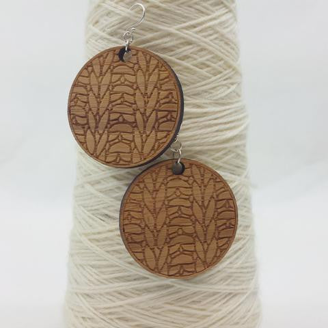 Bamboo Knitted Earrings, large, ready to ship, SALE