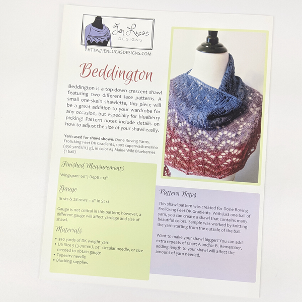 Pattern - Beddington by Jen Lucas, ready to ship