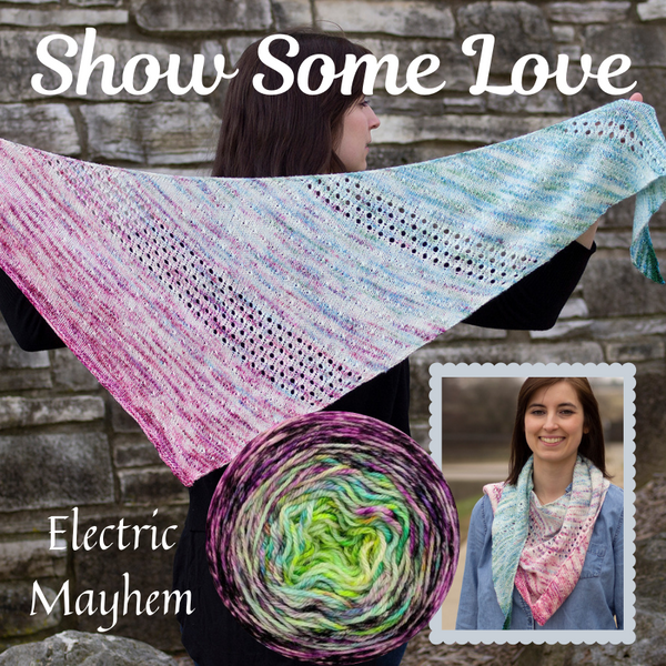 Show Some Love Shawl Yarn Pack, pattern not included, ready to ship