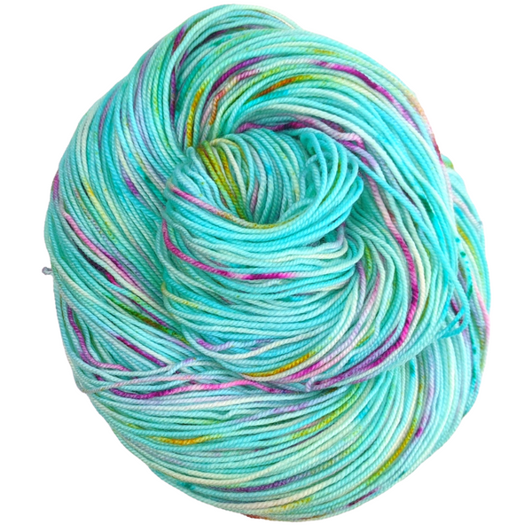 Knitcircus Yarns: We Scare Because We Care 100g Speckled Handpaint skein, Trampoline, ready to ship yarn