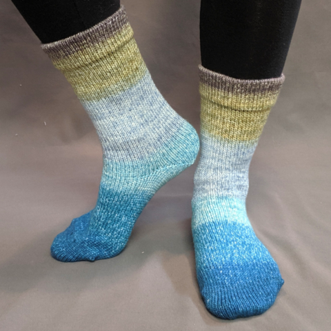 Knitcircus Yarns: Thanks for All the Fish Panoramic Gradient Matching Socks Set (large), Greatest of Ease, ready to ship yarn