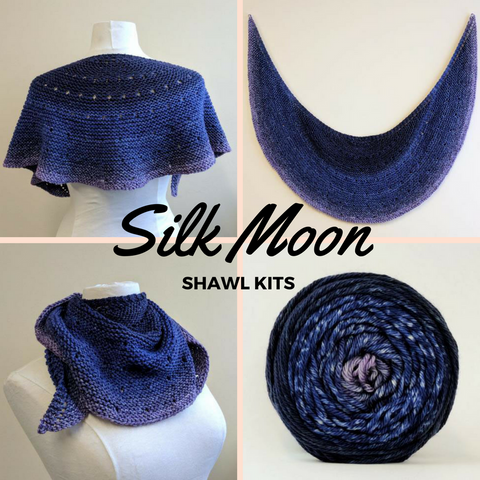 Silk Moon Crescent Shawlette Kit, Worsted weight, ready to ship
