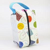 Clear Deja Vue Box Knitting Bag by Tika Bags, ready to ship