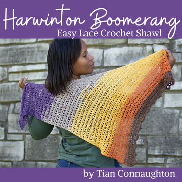 Harwinton Boomerang Crochet Shawl Yarn Pack, pattern not included, ready to ship