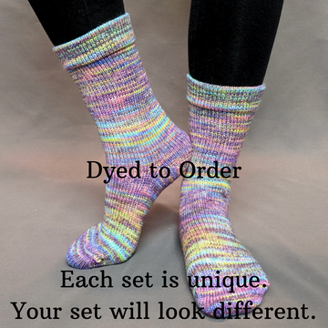 Knitcircus Yarns: Horse of a Different Color Abstract Matching Socks Set, dyed to order yarn
