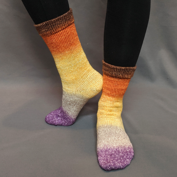 Knitcircus Yarns: Pumpkin to Talk About Panoramic Gradient Matching Socks Set (medium), Greatest of Ease, ready to ship yarn