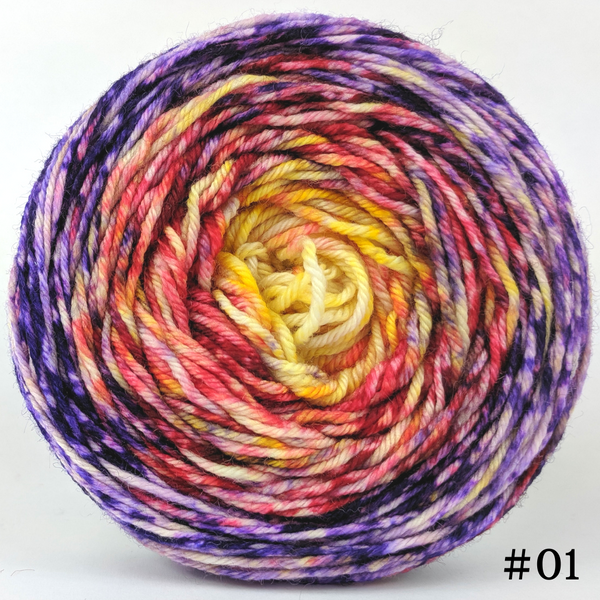 Knitcircus Yarns: Ms. Frizzle 100g Impressionist Gradient, Divine, choose your cake, ready to ship yarn