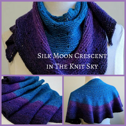Silk Moon Crescent Shawlette Kit, Fingering weight, dyed to order