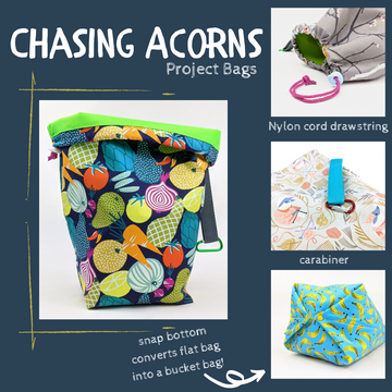 Snap Convertible Drawstring Project Bags by Chasing Acorns, three sizes, ready to ship