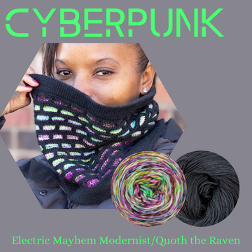 Cyberpunk Cowl Yarn Pack, pattern not included, dyed to order