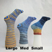 Knitcircus Yarns: Surf's Up Chromatic Gradient Matching Socks Set (medium), Greatest of Ease, ready to ship yarn