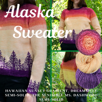 Alaska Sweater Yarn Pack, pattern not included, dyed to order