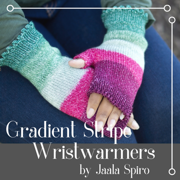 Gradient Stripe Wristwarmers Yarn Pack, size Small, pattern not included, ready to ship