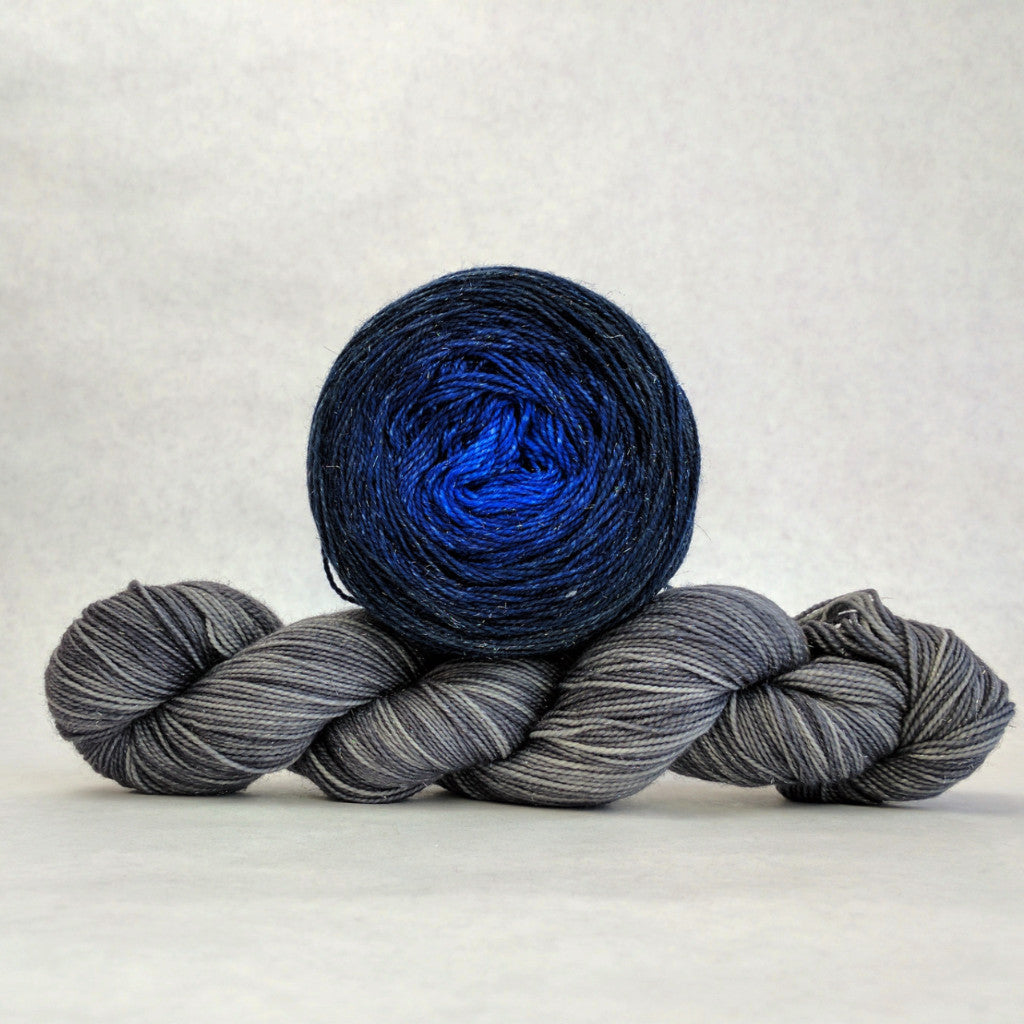 Moon Dust Shawl Yarn Pack, Blue-nique, ready to ship