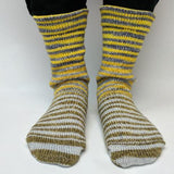 Brass and Steam Extreme Striped Matching Socks Set (medium), Trampoline, ready to ship