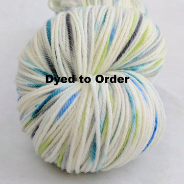 Knitcircus Yarns: Growing Like A Weed Speckled Handpaint Skeins, dyed to order yarn