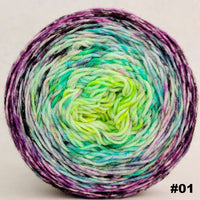 Knitcircus Yarns: Electric Mayhem 100g Impressionist Gradient, Greatest of Ease, choose your cake, ready to ship yarn