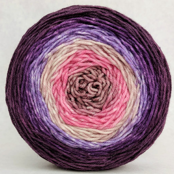 Knitcircus Yarns: Fig and Prosciutto 100g Panoramic Gradient, Greatest of Ease, ready to ship yarn