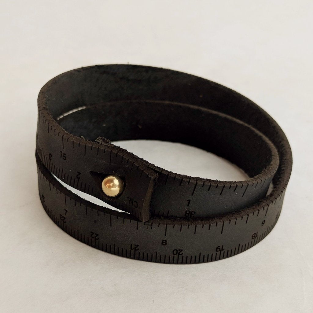 Ruler Leather Bracelet, asst colors and sizes, ready to ship