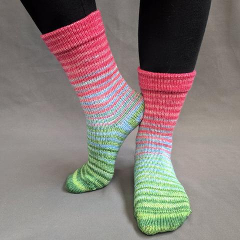Merry and Bright Gradient Striped Matching Socks Set (large), Greatest of Ease, ready to ship