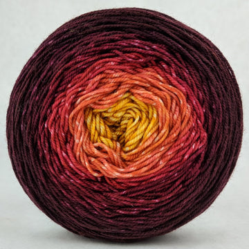 Knitcircus Yarns: Leaf Pile Leap 100g Panoramic Gradient, Trampoline, ready to ship yarn