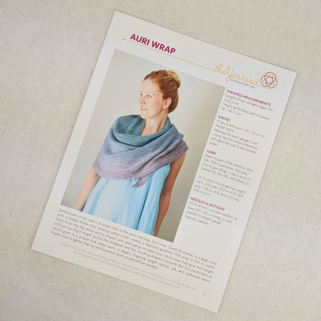 Pattern - Auri Wrap, by Hilary Smith Callis, ready to ship