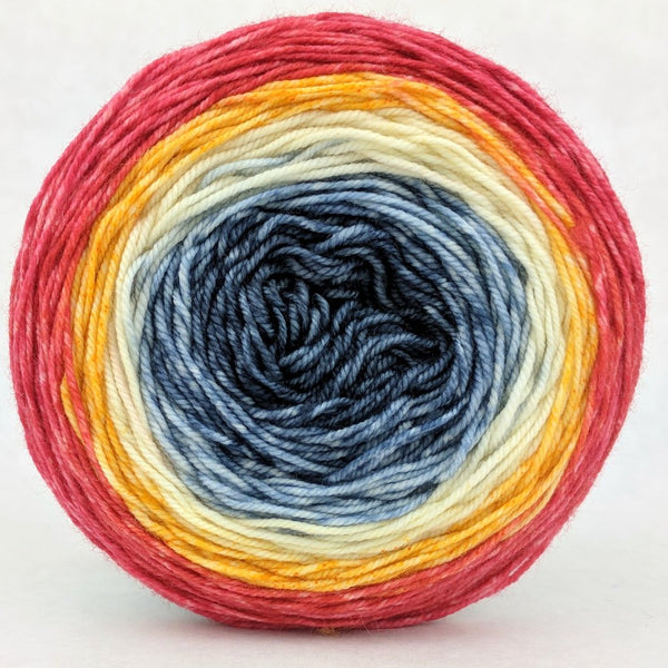 Knitcircus Yarns: Fight Like A Girl 100g Panoramic Gradient, Trampoline, ready to ship yarn