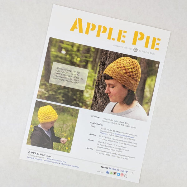 Pattern - Apple Pie Hat, by Tin Can Knits, ready to ship