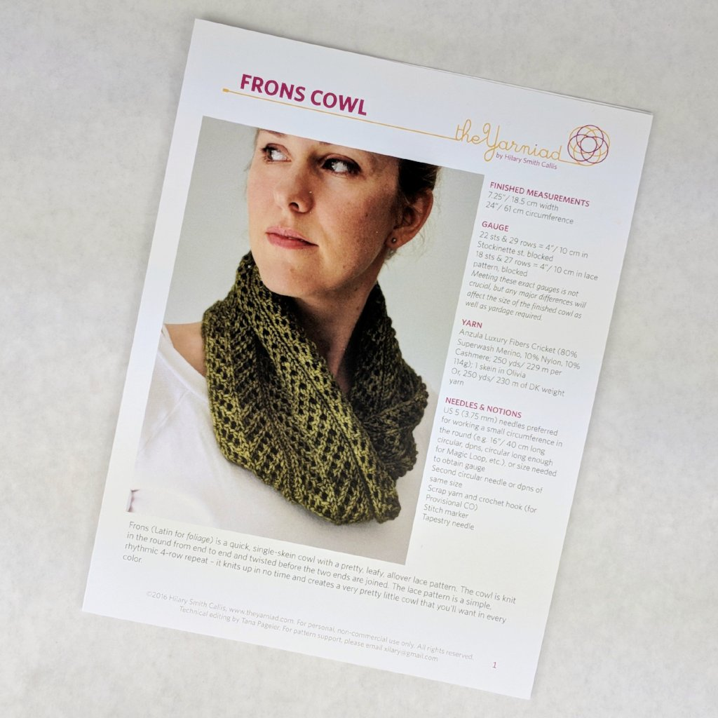 Pattern - Frons Cowl, by Hilary Smith Callis, ready to ship