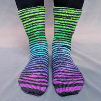 Knitcircus Yarns: Electric Mayhem Extreme Striped Matching Socks Set (medium), Greatest of Ease, ready to ship yarn
