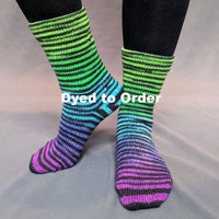 Knitcircus Yarns: Electric Mayhem Extreme Striped Matching Socks Set, dyed to order yarn