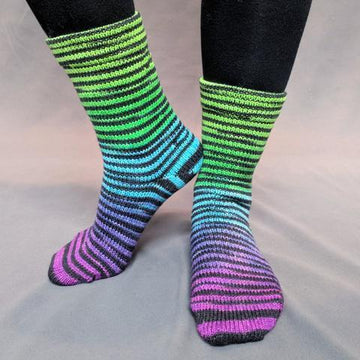 Knitcircus Yarns: Electric Mayhem Extreme Striped Matching Socks Set (medium), Breathtaking BFL, ready to ship yarn