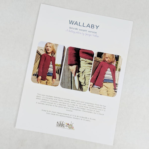 Pattern - Wallaby 8ply DK Children's Cardigan, by Georgie Hallam, ready to ship