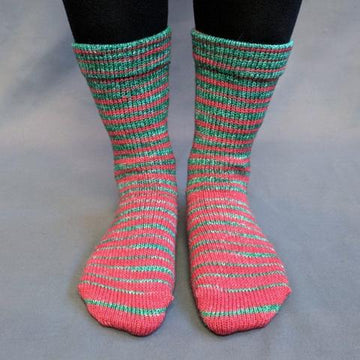 Knitcircus Yarns: Under the Mistletoe Gradient Striped Matching Socks Set (medium), Greatest of Ease, ready to ship yarn