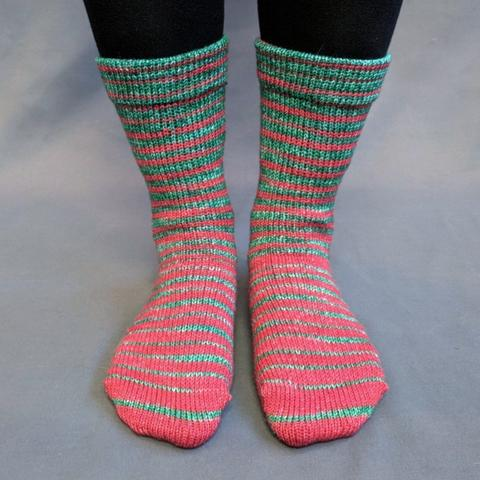 Knitcircus Yarns: Under the Mistletoe Gradient Striped Matching Socks Set (large), Greatest of Ease, ready to ship yarn