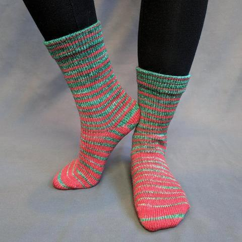 Knitcircus Yarns: Under the Mistletoe Gradient Striped Matching Socks Set (small), Greatest of Ease, ready to ship yarn