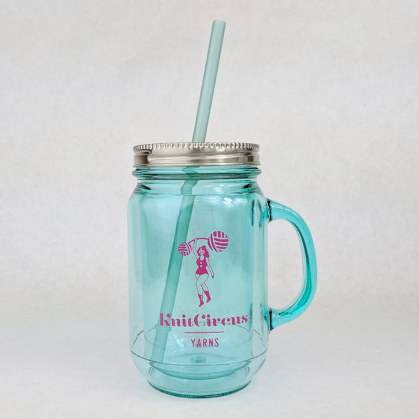 Knitcircus Plastic Mason Jar Cup with Straw and Handle, ready to ship