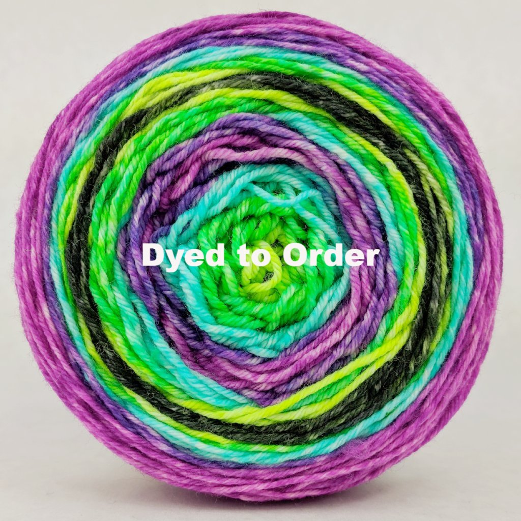 Electric Mayhem 100g Repeating Gradient, Greatest of Ease, dyed to order