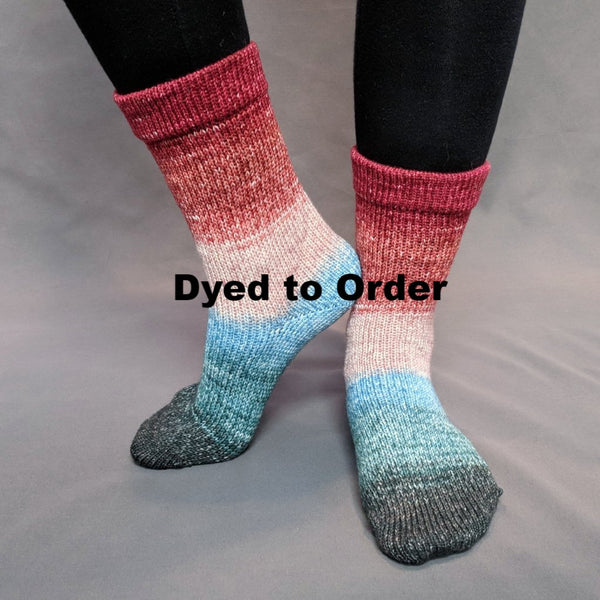 Knitcircus Yarns: Sagebrush Cowgirl Panoramic Gradient Matching Socks Set, dyed to order yarn