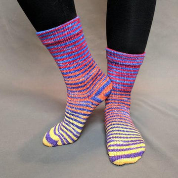 Knitcircus Yarns: Off to See the Wizard Extreme Striped Matching Socks Set (medium), Trampoline, ready to ship yarn