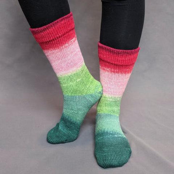 Knitcircus Yarns: Watermelon Panoramic Gradient Matching Socks Set (Large), Greatest of Ease, ready to ship yarn