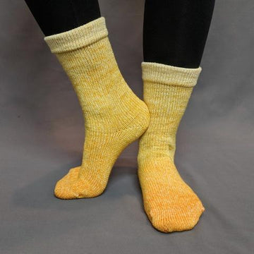 Knitcircus Yarns: All the Bacon and Eggs You Have Chromatic Gradient Matching Socks Set (medium), Greatest of Ease, ready to ship yarn