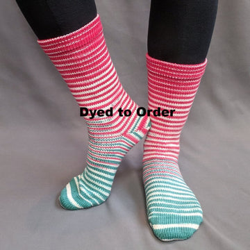 Knitcircus Yarns: Feliz Navidad Gradient Striped Matching Socks Set, dyed to order yarn